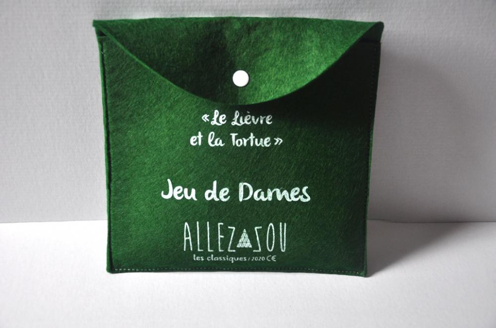 """Jeu de dames sur feutre \""""Le Lièvre et la Tortue\"""""""