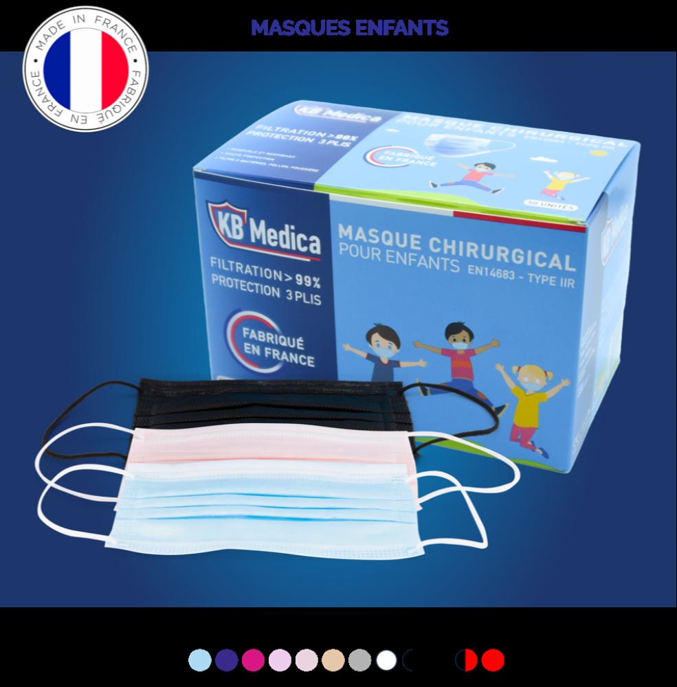 50 masques chirurgicaux de type IIR - taille enfant - Confort supérieur