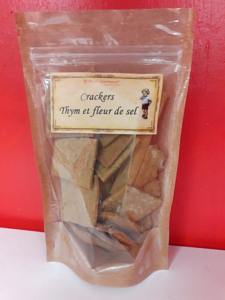 Biscuits salés crackers Thym Fleur de sel de Camargue - sachet de 80g