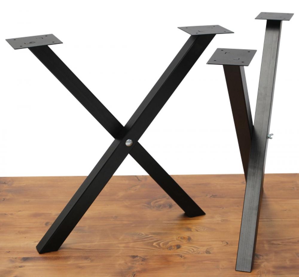 Un pied de table - Forme X - H71cm - L60cm - Métal Design