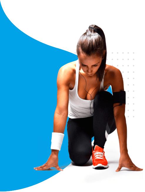 femme sportive qui commence un sprint