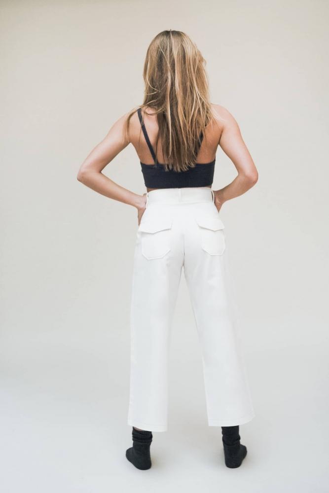 Pantalon en coton Anny - Blanc