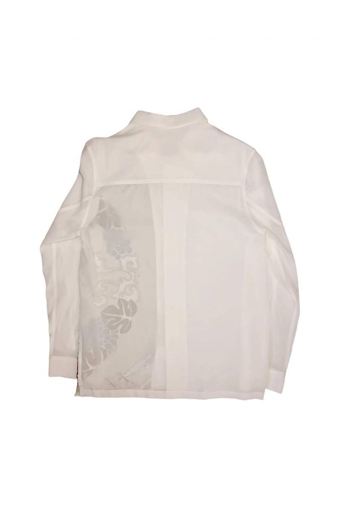 Chemise en soie imprimé feuilles de vigne