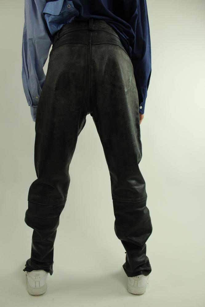 Pantalon en cuir à lacets