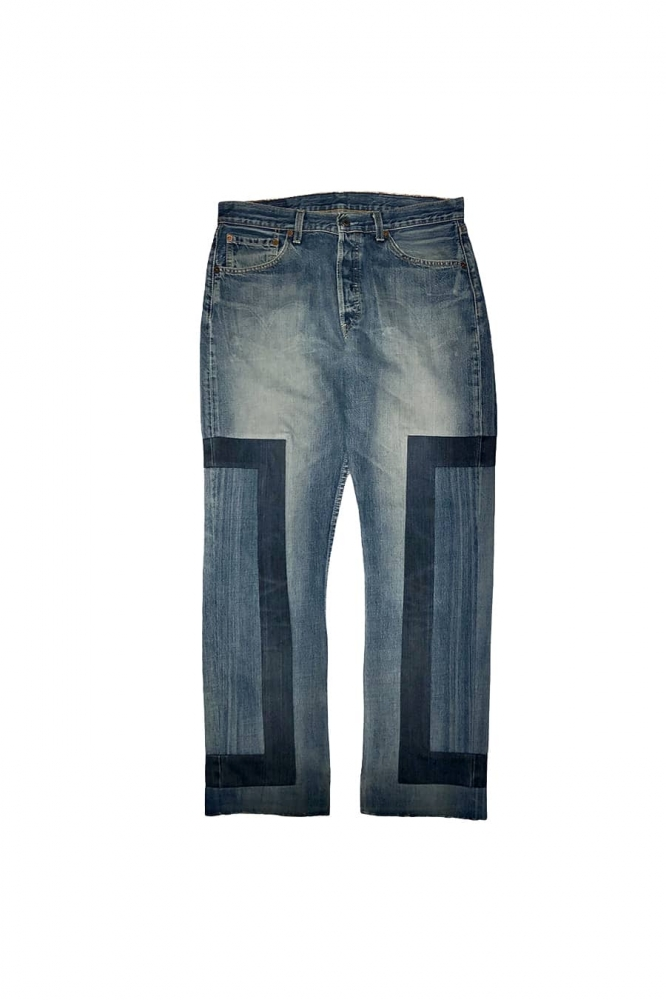 Pantalon regular en jean délavé