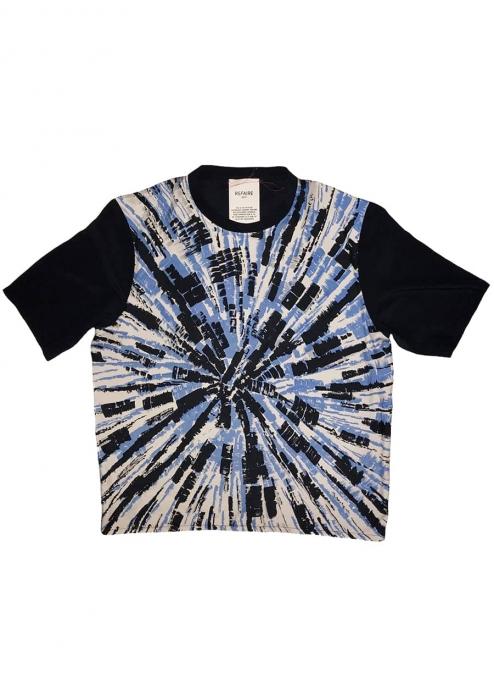 T-shirt en soie à imprimé rayons bleu