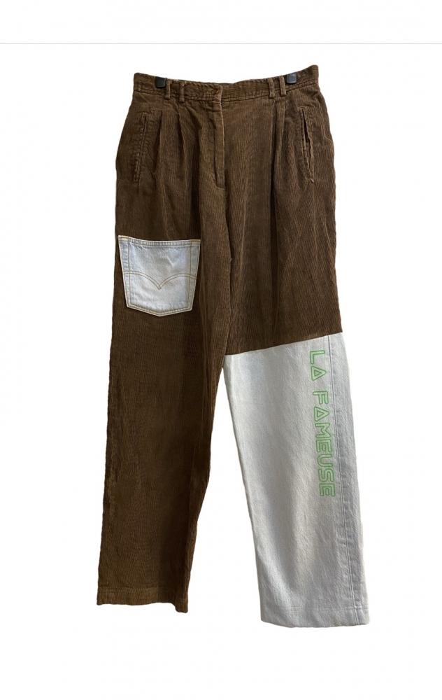Pantalon Velours & Jean Asymétrique