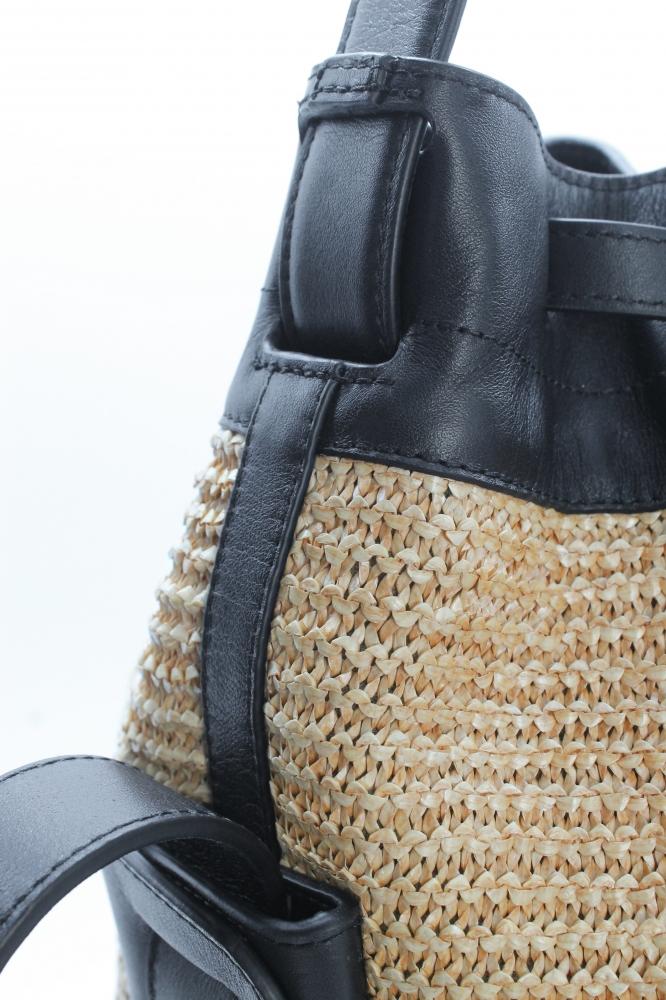 Grand Seau Cuir/Raphia tricoté