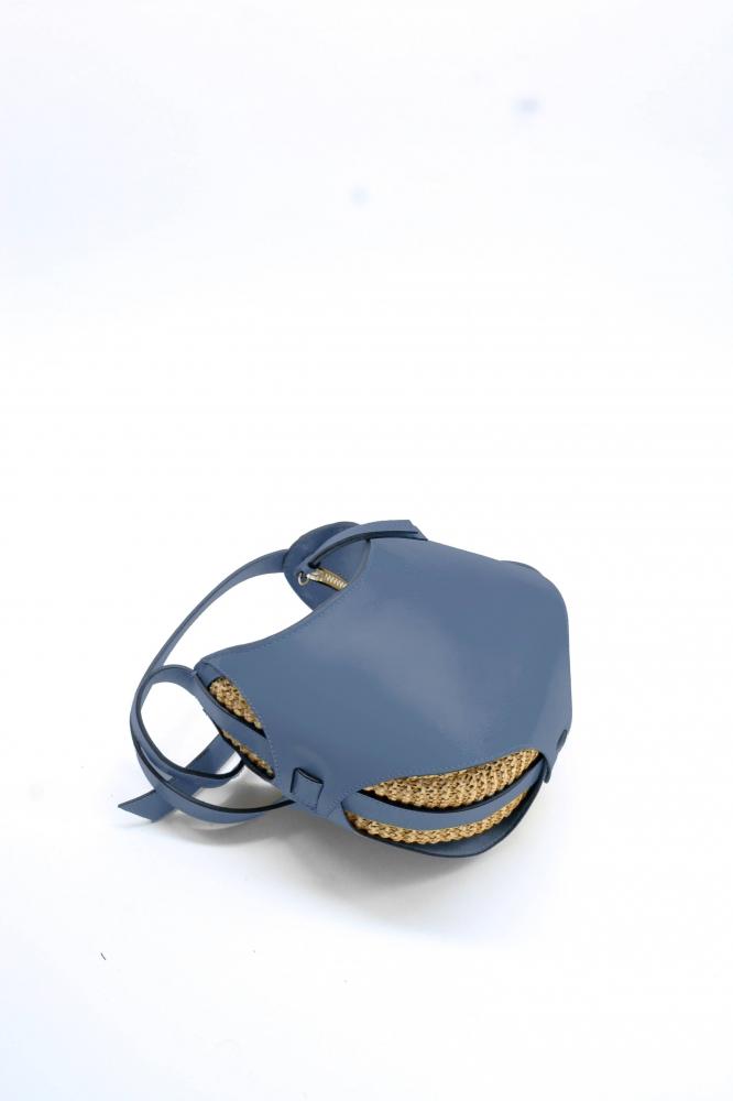 Mini Boule - Indigo/Raphia tricoté