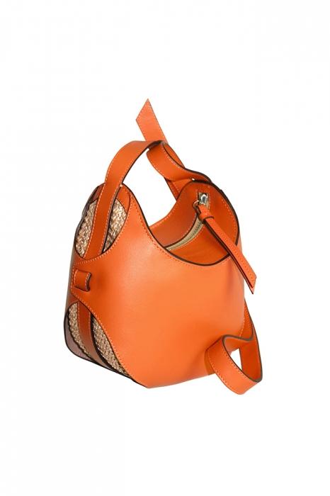 Mini Boule - Orange/Raphia tricoté