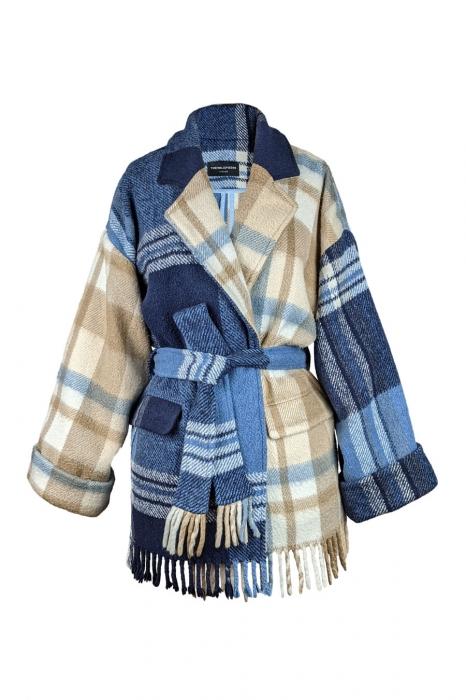 Veste en plaid de laine vintage