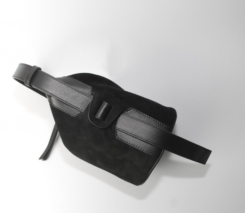 Mini Seau en cuir et daim - noir