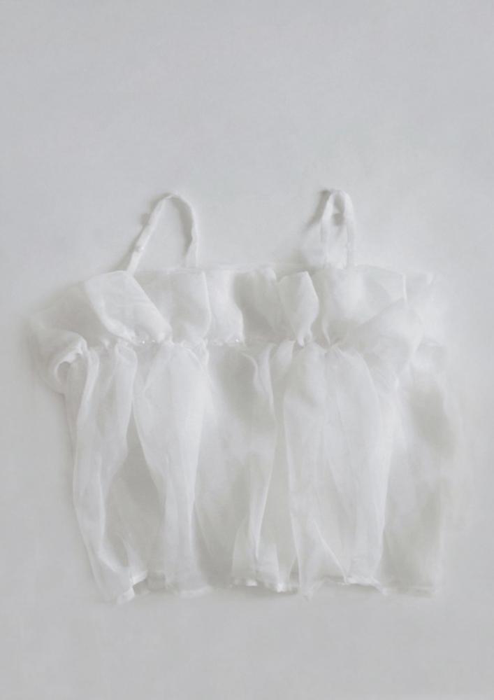 Top bretelles à volants blanc