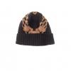 Bonnet en tricot jacquard marron