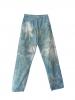 Pantalon coupe droite au motif tie and dye bleu