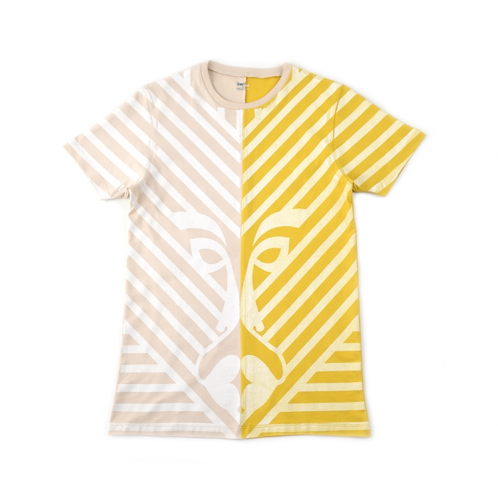 T-shirt Two Faces en coton Jaune