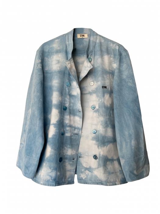 Veste en Jean Unisexe au motif tie and dye indigo