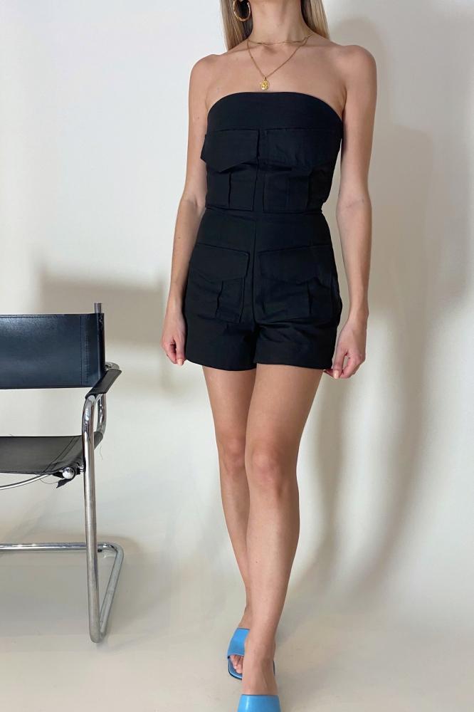 Combinaison short en coton noir