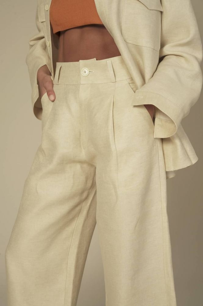 Pantalon Taille Haute Lin Beige