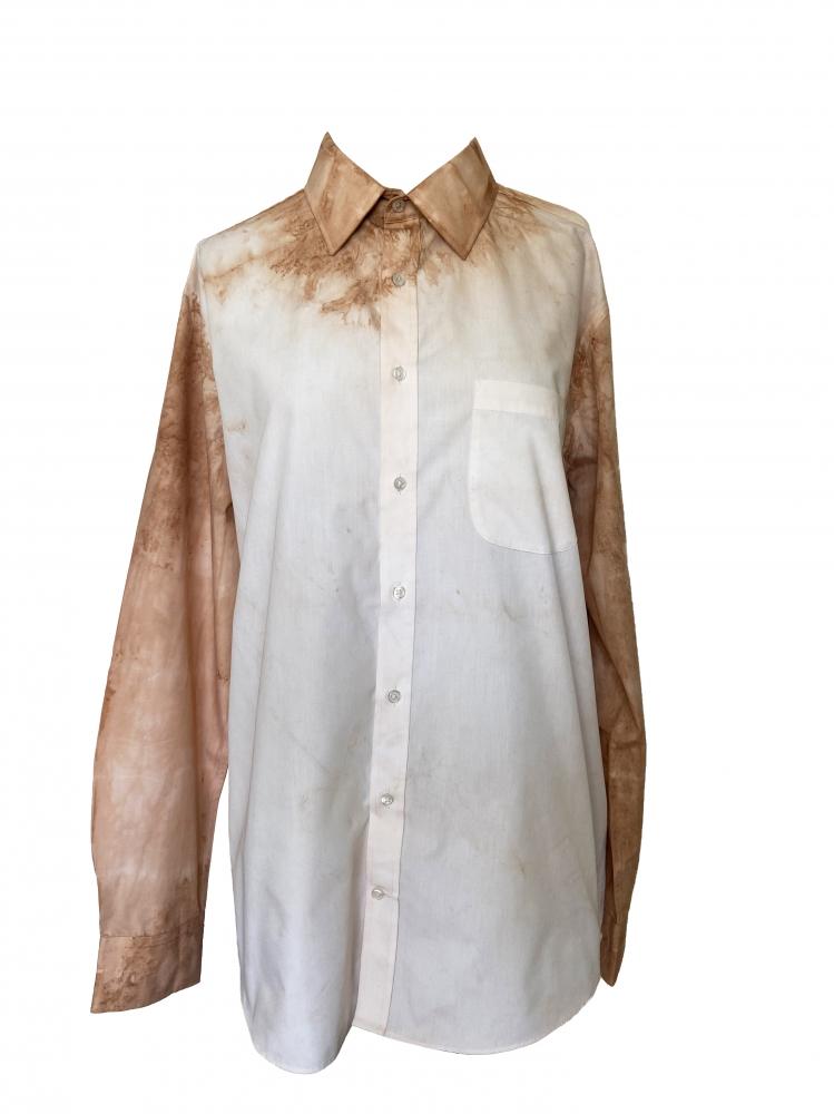 Chemise à manches longues tie and dye marron