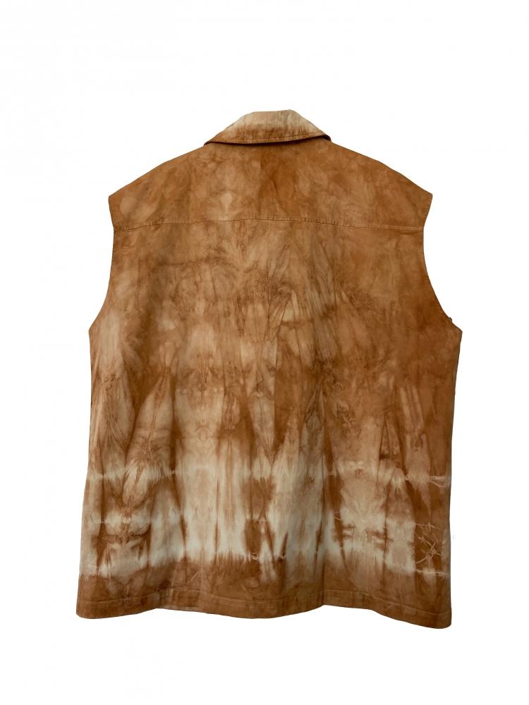 Surchemise sans manche tie and dye marron