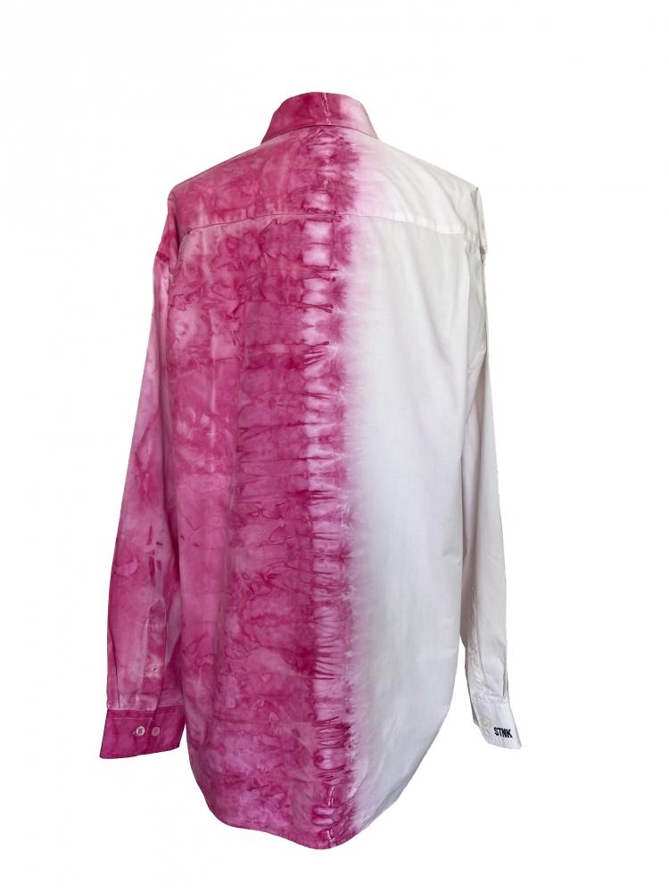 Chemise à manches longues tie and dye fushia
