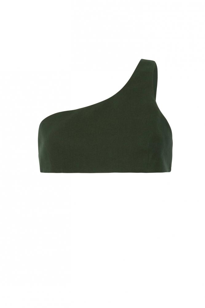 Crop Top sans manches Coupe Asymétrique Ajustée Vert Kaki