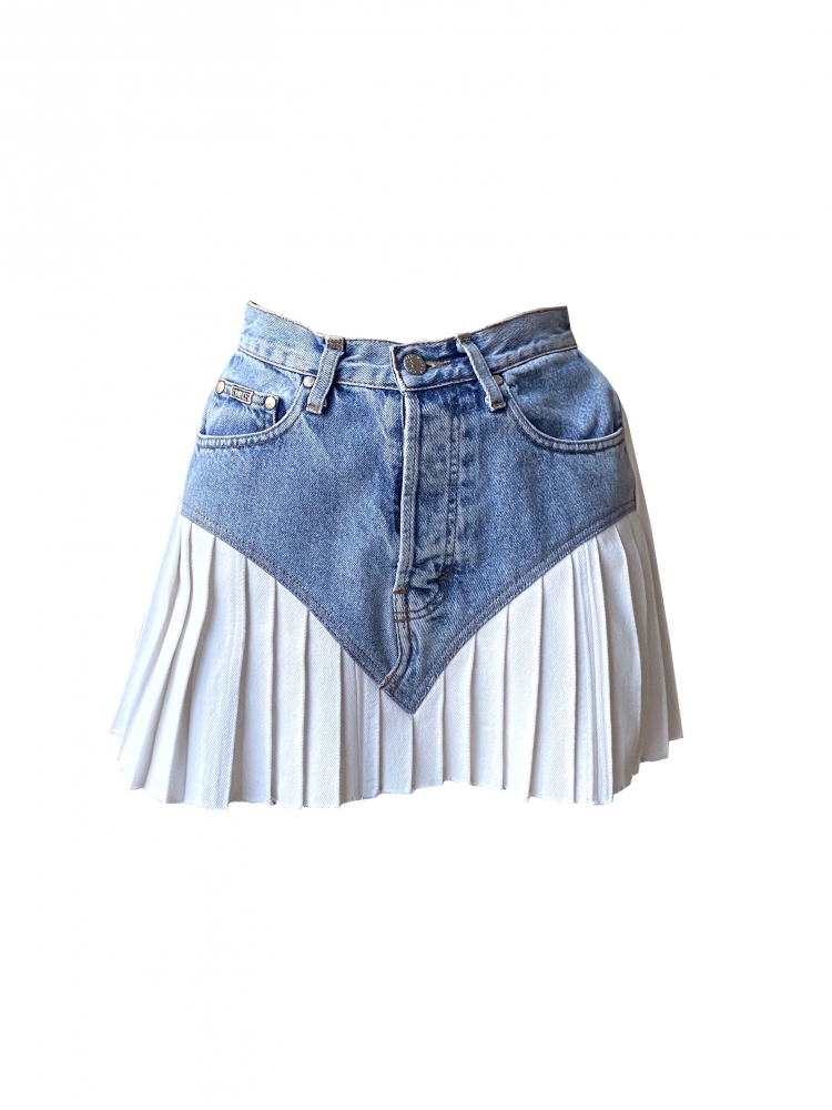 Mini-jupe Plissée en Denim