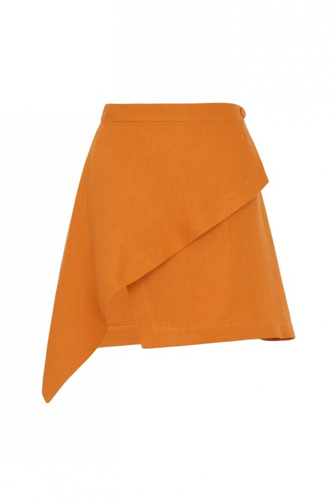 Jupe Portefeuille Lin Orange