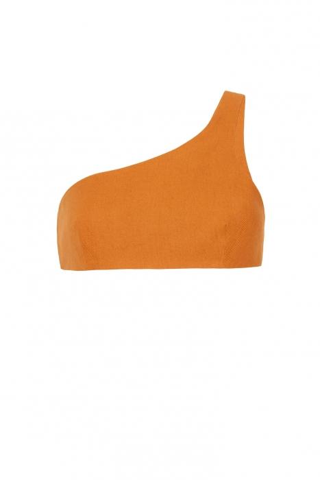 Crop Top sans manches Coupe Asymétrique ajustée Orange