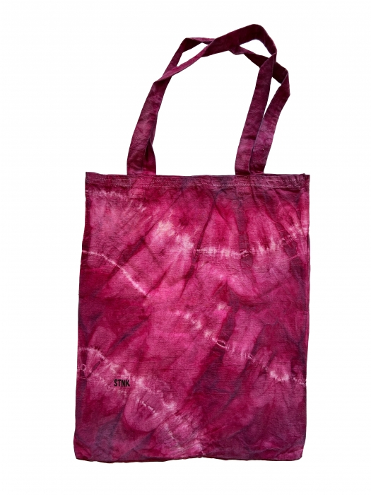 Sac en toile tie and dye vert rose fushia