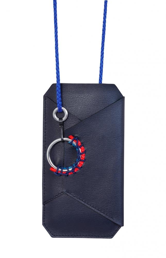 Porte-téléphone Tangram en cuir grainé bleu marine
