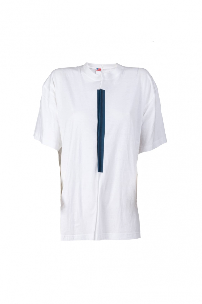 T-shirt blanc couture centrale bande bleue