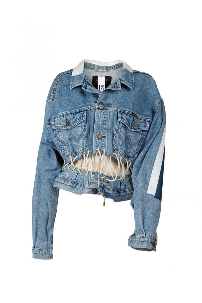 Veste en jean reconstituée oeillets et lacet à la taille