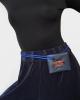 Porte-carte mini Oblique en cuir grainé bleu marine