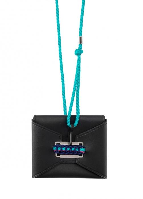 Porte-carte mini Oblique en cuir noir