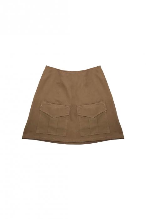 Jupe double poches en coton