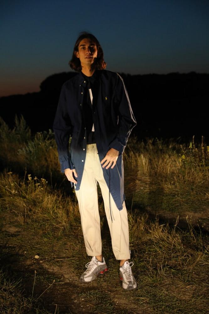 Robe chemise doublée bleue