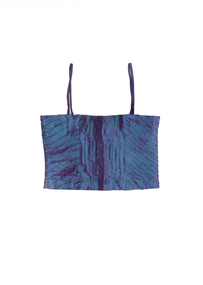 Bustier irisé en soie bleu