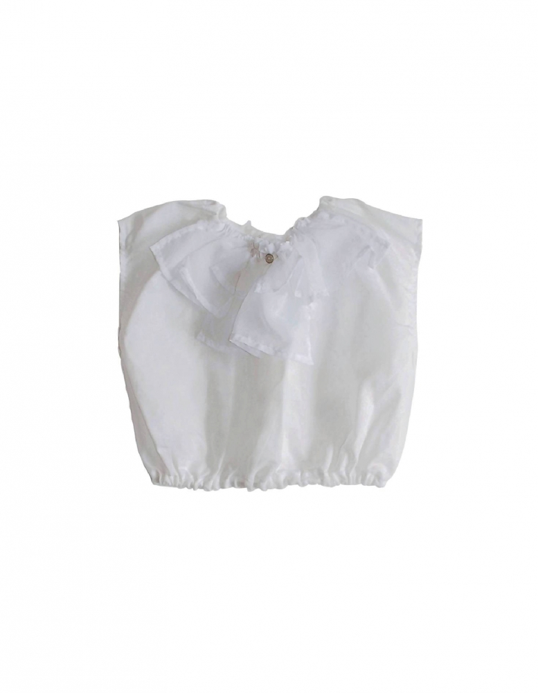 Top avec col à volants blanc
