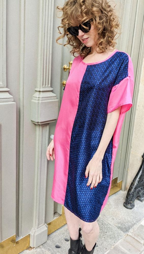 Robe t-shirt en soie bi-colore rose et bleu