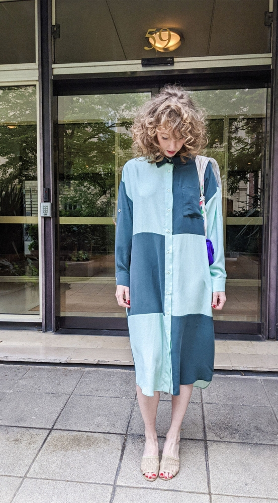 Robe chemise en soie imprimé damier vert