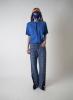 T-shirt bleu couture centrale bande bleu foncée
