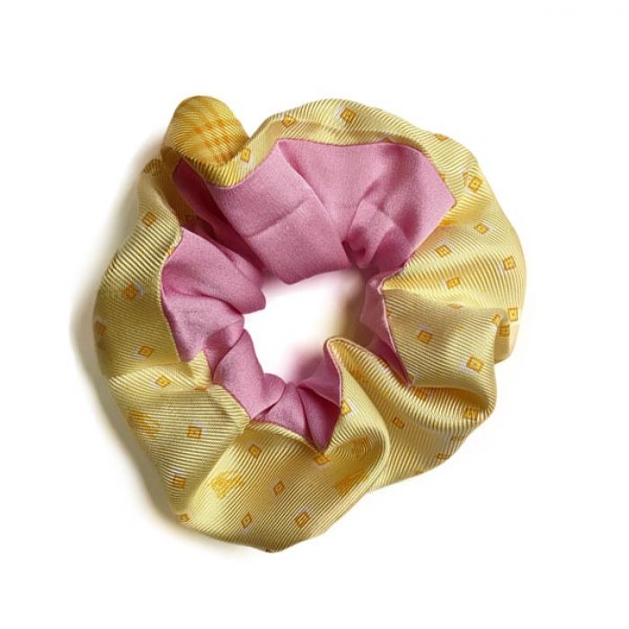 Chouchou en soie bi-colore rose et jaune