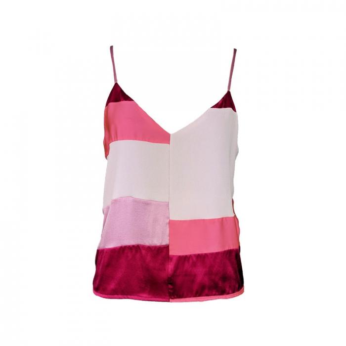 Top à bretelles en soie imprimé rose