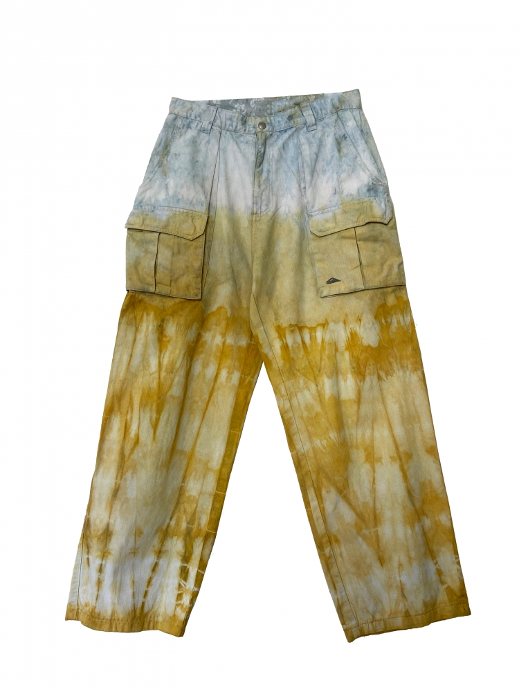 Pantalon cargo tie and dye jaune bleu