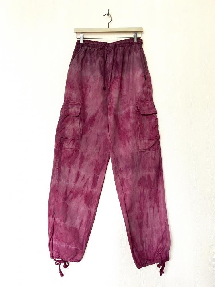Pantalon cargo tie and dye rose