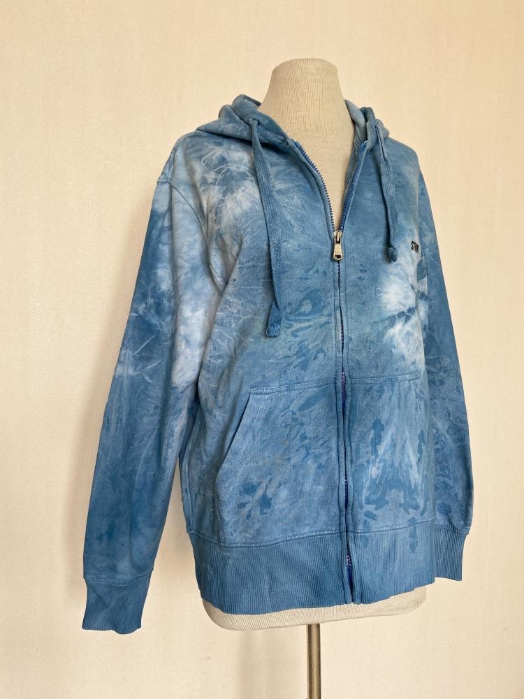 Sweat zippé tie and dye bleu