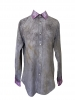 Chemise à manches longues tie and dye gris et rose