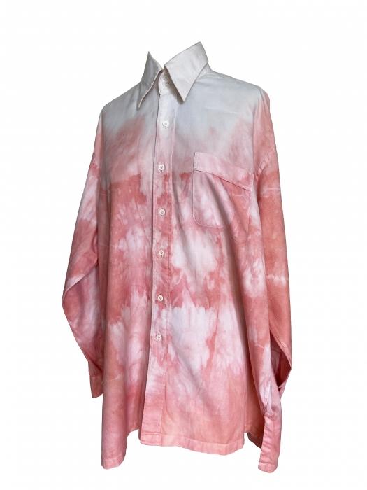 Chemise à manches longues tie and dye rose saumon